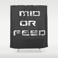 league of legends Shower Curtains featuring League of Legends: Mid or Feed by Noal's Corner
