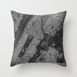 Central Park New York 1947 vintage old map for office decoration Throw Pillow