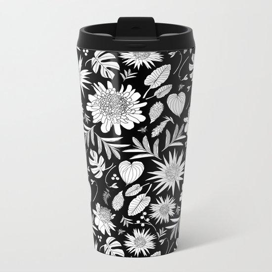 TROPICAL FLORAL BLACK & WHITE Metal Travel Mug