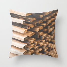 Freshly Cut Wood Stacked for Lumber Air Drying Throw Pillow