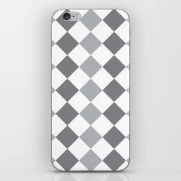 Gray and white square pattern iPhone Skin