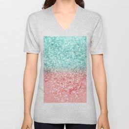 Summer Vibes Glitter #1 #coral #mint #shiny #decor #art #society6 Unisex V-Neck