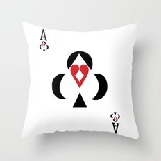 ace club diamond spade  diamond negative space card colors inverted Throw Pillow