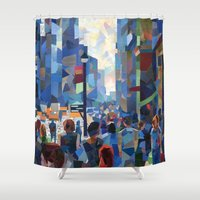 city Shower Curtains featuring City by Emma Reznikova