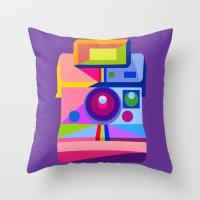 polaroid Throw Pillows featuring Polaroid by MaNia Creations