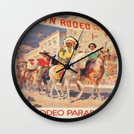 Vintage poster - Rodeo parade Wall Clock