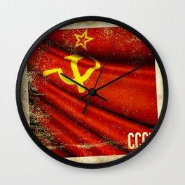 Sticker of Soviet Union (1922-1991) flag Wall Clock