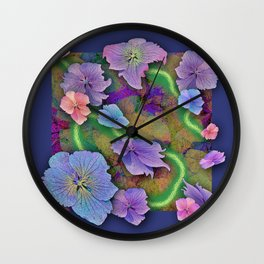 LACECAP HYDRANGEA THIMBLEBERRY ABSTRACT FLORAL Wall Clock