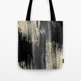 Abstract modern black gray gold glitter brushstrokes Tote Bag