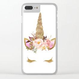 Gold unicorn design Clear iPhone Case