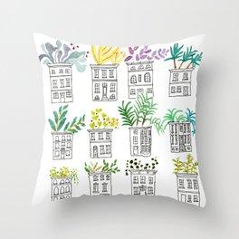 Row House Planters Throw Pillow