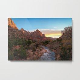 The Watchman Sunset Zion National Park Mountain Landscape Metal Print