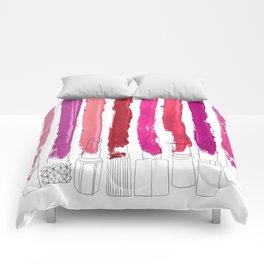 Lipstick Stripes - Floral Fuschia Red Comforters