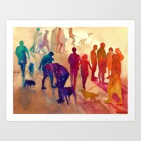 best friends Art Prints featuring Best friends by takmaj