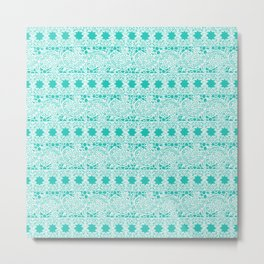 Lacey Lace - White Teal Metal Print