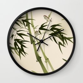 Oriental style painting, bamboo branches Wall Clock