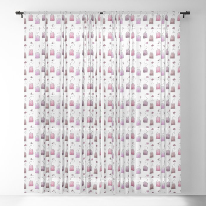 Pink Tea Bags Sheer Curtain