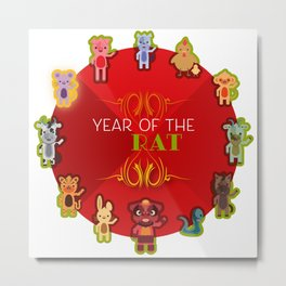 Chinese Zodiac - Year of the Rat Metal Print