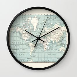 World Map in Blue and Cream Wall Clock