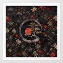 Enso Circle Bonsai Tree on Zen Symbol pattern on black by k9printart