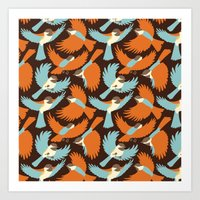 Chickadees in Brown Art Print