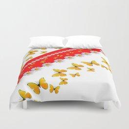 RED MODERN ART YELLOW BUTTERFLIES & WHITE DAISIES Duvet Cover