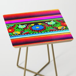 Serape and Flowers Side Table