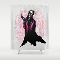 prince Shower Curtains featuring Clown Prince by Ludwig Van Bacon