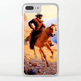 """William Leigh Western Art """"Looking For Strays"""" Clear iPhone Case"""