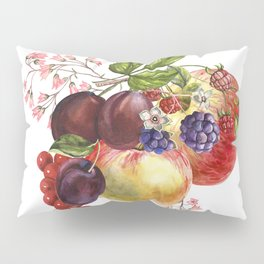 Composition of realistic fruits on a white background in vintage style. Apples, raspberries, plums, Pillow Sham