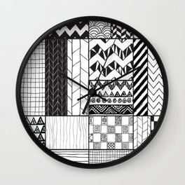 Various B&W Patterns Wall Clock