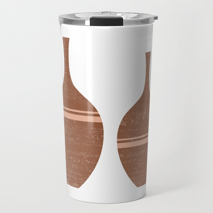 Greek Pottery 40 - Vases - Terracotta Series - Modern, Contemporary, Minimal Abstract - Brown Travel Mug