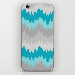 Teal Turquoise Blue Grey Gray Chevron Ombre Fade Zigzag iPhone Skin