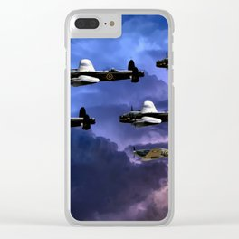 Lancaster Bombers With Spitfire Escorts Clear iPhone Case