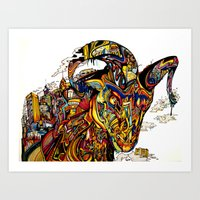 ram Art Prints featuring Ram by Erin O'Keefe