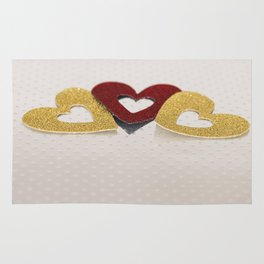 Sparkly glitter hearts Rug