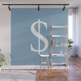 dollar sign on placid blue color background Wall Mural