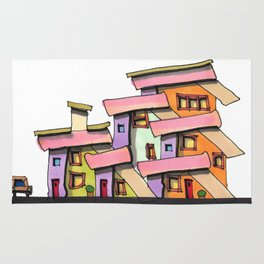 Funky Colors House With Car 69 Rug