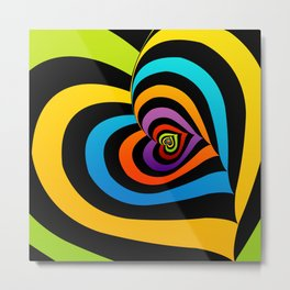 Valentine hearts twirling in rainbow colors Metal Print