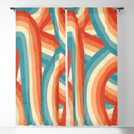 Red, Orange, Blue and Cream 70's Style Rainbow Stripes Blackout Curtain