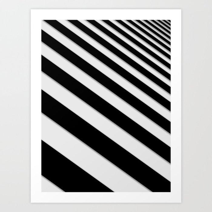 Perspective Solid Lines - Black and White Stripes - Digital Illustration - Artwork Kunstdrucke