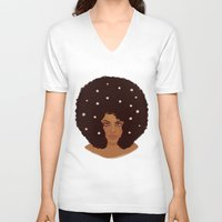 daisies V-neck T-shirts featuring Daisies by Samantha Wynell-Mayow