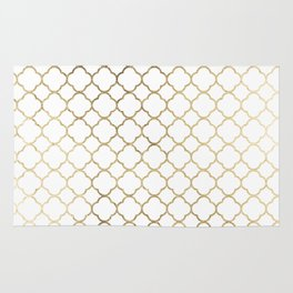 Elegant stylish white faux gold quatrefoil Rug
