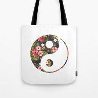 yin yang Tote Bags featuring Yin Yang by Hipster