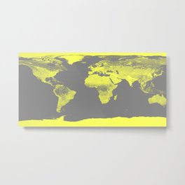 world maP Lemon Yellow & Gray Metal Print