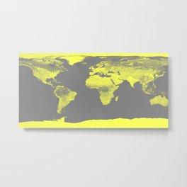 world maP Lemon Yellow & Gray Metal Print