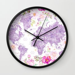 Purple watercolor floral world map with cities Wall Clock