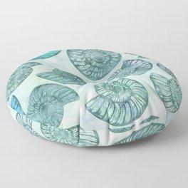 Shimmering Underwater Shell Scenery Aqua Colors Floor Pillow