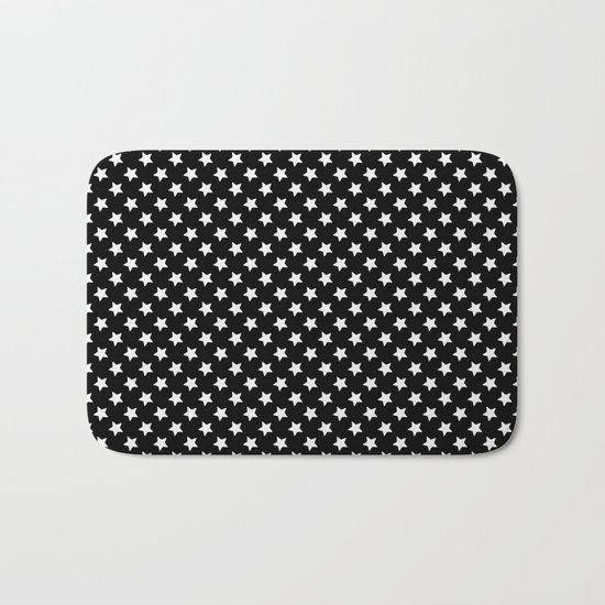 White Stars on Black Bath Mat