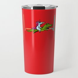 Unicorn Riding Crocodile Alligator Cute Travel Mug
